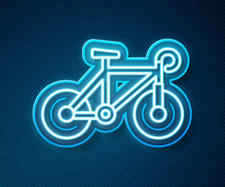 Glowing neon line Bicycle icon isolated on blue background. Bike race. Extreme sport. Sport equipment. Vector