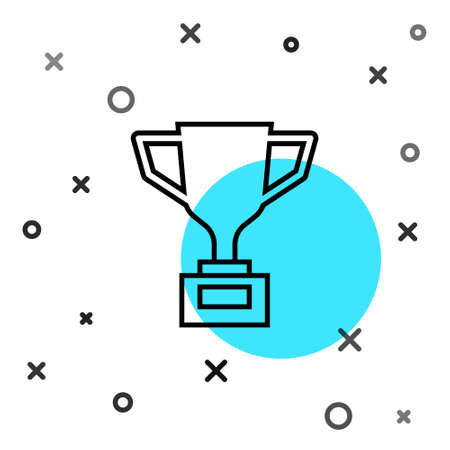 Black line Award cup with bicycle icon isolated on white background. Winner trophy symbol. Championship or competition trophy. Sports achievement. Random dynamic shapes. Vector