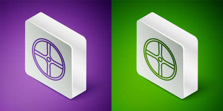 Isometric line Bicycle wheel icon isolated on purple and green background. Bike race. Extreme sport. Sport equipment. Silver square button. Vector Illustration