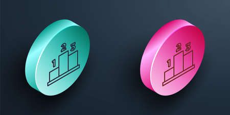 Isometric line Award over sports winner podium icon isolated on black background. Turquoise and pink circle button. Vector