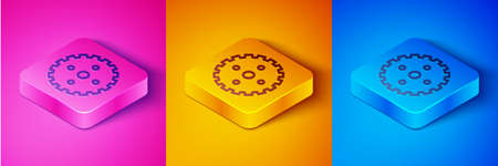 Isometric line Bicycle sprocket crank icon isolated on pink and orange, blue background. Square button. Vector