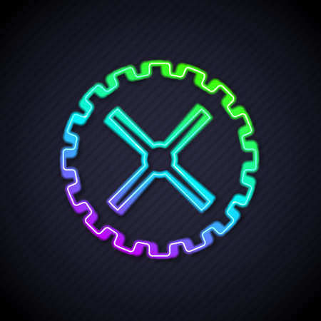 Glowing neon line Bicycle sprocket crank icon isolated on black background. Vector