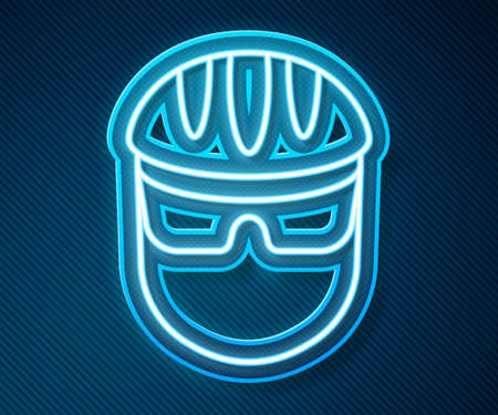 Glowing neon line Bicycle helmet icon isolated on blue background. Extreme sport. Sport equipment. Vector
