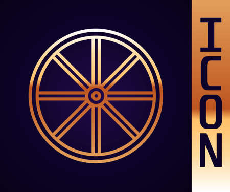 Gold line Bicycle wheel icon isolated on black background. Bike race. Extreme sport. Sport equipment. Vector
