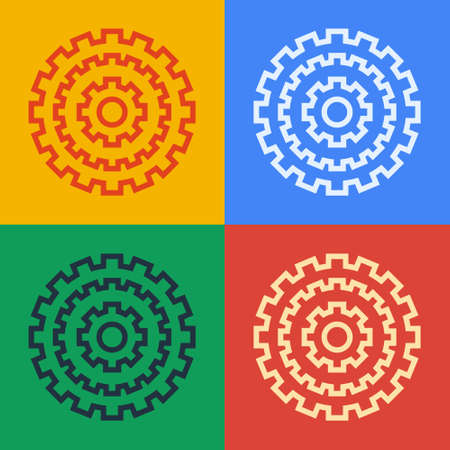 Pop art line Bicycle cassette mountain bike icon isolated on color background. Rear Bicycle Sprocket. Chainring crankset with chain. Vector