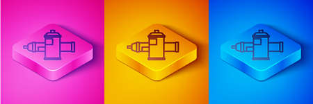 Isometric line Paint spray can icon isolated on pink and orange, blue background. Square button. Vector Illustration