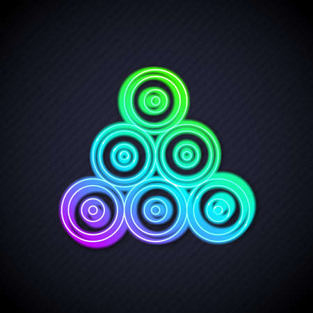 Glowing neon line Paint spray can icon isolated on black background. Vector