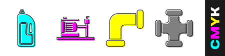 Set Container with drain cleaner, Electric water pump, Industry metallic pipe and Industry metallic pipe icon. Vector