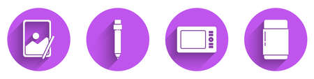 Set Graphic tablet, Pencil with eraser, Graphic tablet and Eraser or rubber icon with long shadow. Vector
