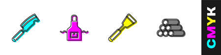 Set Meat chopper, Kitchen apron, Spatula and Wooden logs icon. Vector