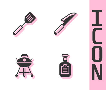 Set Sauce bottle, Spatula, Barbecue grill and Knife icon. Vector