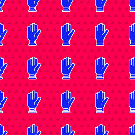 Blue Golf glove icon isolated seamless pattern on red background. Sport equipment. Sports uniform. Vector