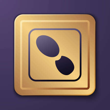 Purple Human footprints shoes icon isolated on purple background. Shoes sole. Gold square button. Vector