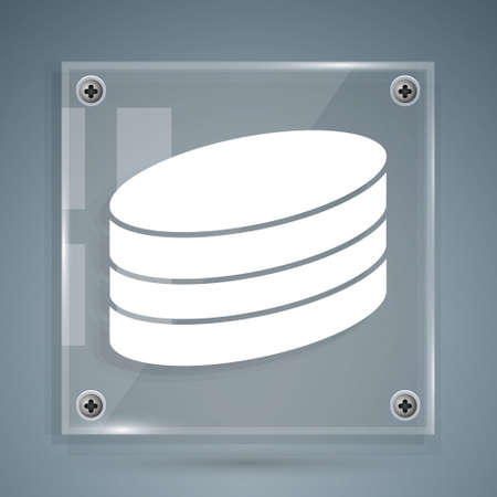 White Brownie chocolate cake icon isolated on grey background. Square glass panels. Vector
