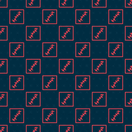 Red line Scar with suture icon isolated seamless pattern on black background. Vector