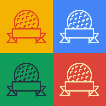 Pop art line Golf ball icon isolated on color background. Vector