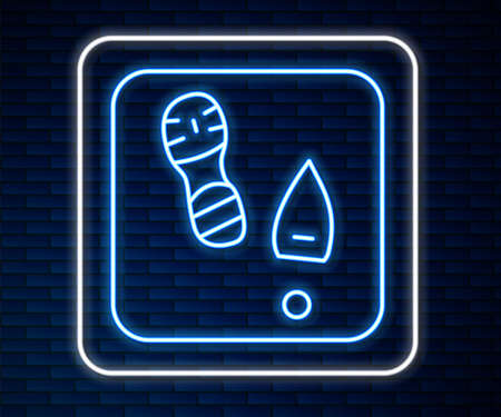 Glowing neon line Human footprints shoes icon isolated on brick wall background. Shoes sole. Vector