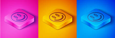 Isometric line Smile face icon isolated on pink and orange, blue background. Smiling emoticon. Happy smiley chat symbol. Square button. Vector 矢量图片