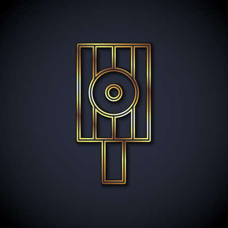 Gold line Spray can nozzle cap icon isolated on black background. Vector