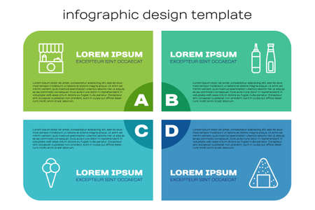 Set line Ice cream in waffle cone, Street stall with awning, Onigiri and Sauce bottle. Business infographic template. Vector