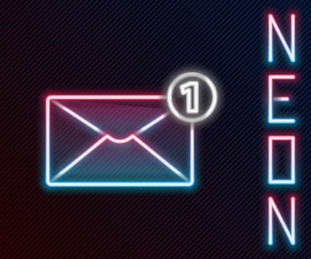 Glowing neon line Envelope icon isolated on black background. Received message concept. New, email incoming message, sms. Mail delivery service. Colorful outline concept. Vector Illustration Vector Illustratie