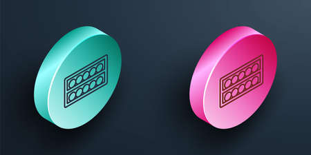 Isometric line Billiard balls on a stand icon isolated on black background. Billiard balls on a shelf. Turquoise and pink circle button. Vector