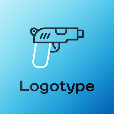 Line Pistol or gun icon isolated on blue background. Police or military handgun. Small firearm. Colorful outline concept. Vector Векторная Иллюстрация