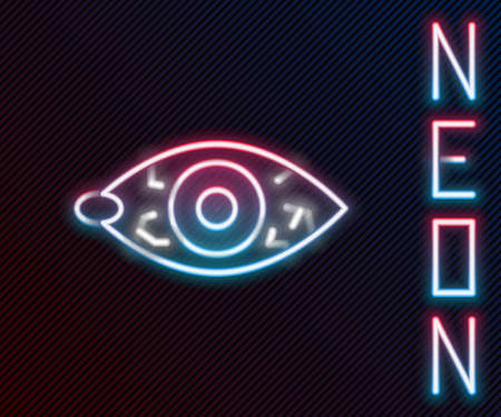 Glowing neon line Reddish eye due to viral, bacterial or allergic conjunctivitis icon isolated on black background. Colorful outline concept. Vector Vektorové ilustrace