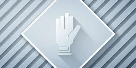 Paper cut Golf glove icon isolated on grey background. Sport equipment. Sports uniform. Paper art style. Vector