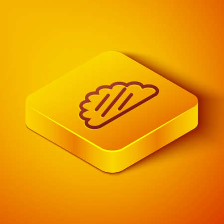 Isometric line Taco with tortilla icon isolated on orange background. Traditional mexican fast food menu. Yellow square button. Vector Illustration Векторная Иллюстрация