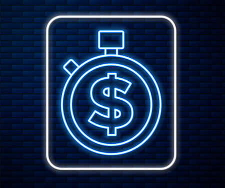 Glowing neon line Time is money icon isolated on brick wall background. Money is time. Effective time management. Convert time to money. Stopwatch sign. Vector