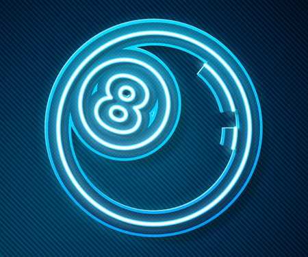 Glowing neon line Billiard pool snooker ball with number 8 icon isolated on blue background. Vector