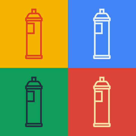 Pop art line Paint spray can icon isolated on color background. Vector