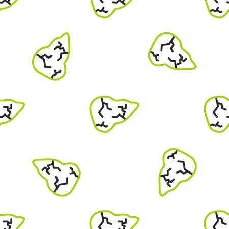 Line Hepatitis virus on the human liver icon isolated seamless pattern on white background. World Hepatitis Day. Vector