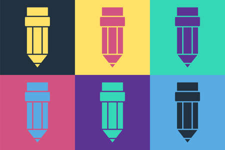 Pop art Pencil with eraser icon isolated on color background. Drawing and educational tools. School office symbol. Vector