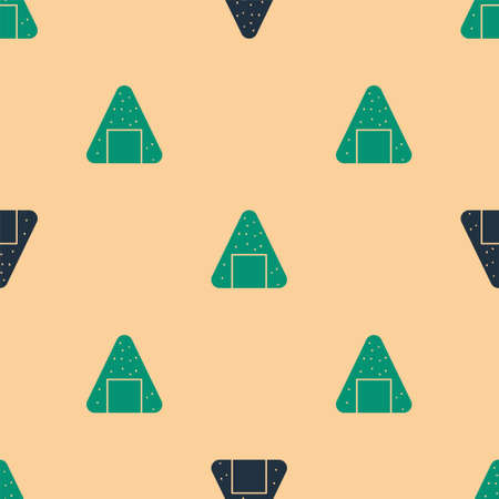Green and black Onigiri icon isolated seamless pattern on beige background. Japanese food. Vector Illustration