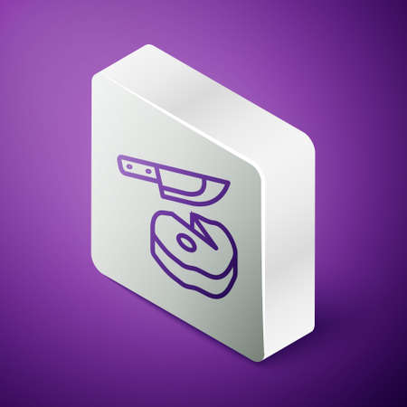 Isometric line Steak meat and knife icon isolated on purple background. Slicing meat. Silver square button. Vector