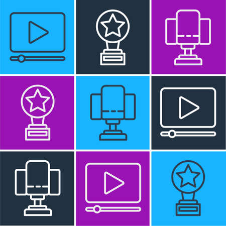 Set line Online play video, Director movie chair and Movie trophy icon. Vector