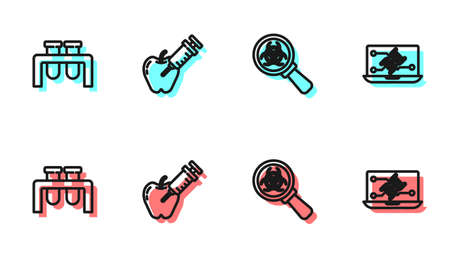 Set line Biohazard and magnifying glass, Test tube flask, Genetically modified apple and engineering modification icon. Vector