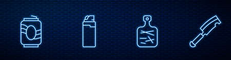 Set line Cutting board, Soda can, Lighter and Meat chopper. Glowing neon icon on brick wall. Vector Ilustración de vector