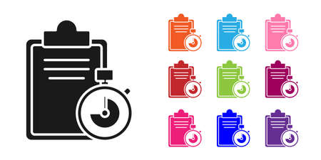 Black Verification of delivery list clipboard icon isolated on white background. Set icons colorful. Vector Illustration