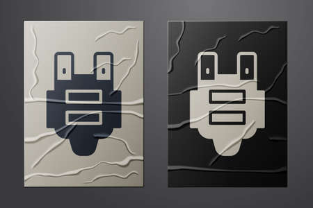White Bulletproof vest for protection from bullets icon isolated on crumpled paper background. Body armor sign. Military clothing. Paper art style. Vector