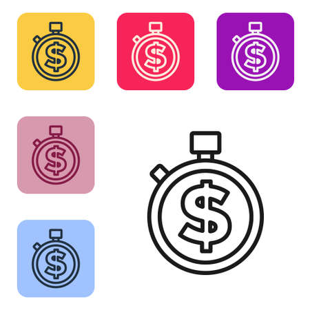 Black line Time is money icon isolated on white background. Money is time. Effective time management. Convert time to money. Stopwatch sign. Set icons in color square buttons. Vector Vektoros illusztráció
