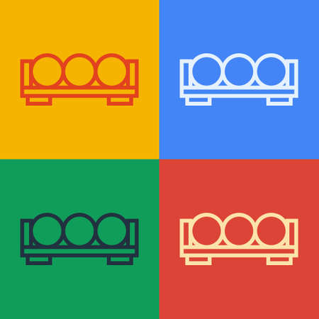 Pop art line Billiard balls on a stand icon isolated on color background. Billiard balls on a shelf. Vector