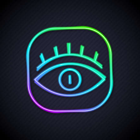 Glowing neon line Masons symbol All-seeing eye of God icon isolated on black background. The eye of Providence in the triangle. Vector