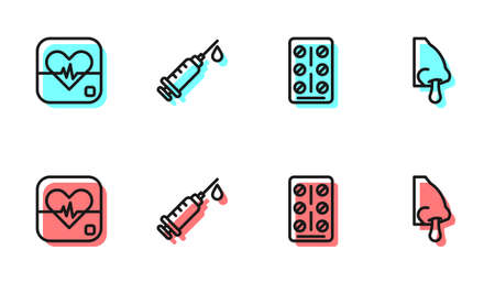 Set line Pills in blister pack, Heart rate, Syringe and Runny nose icon. Vector Archivio Fotografico - 167323855