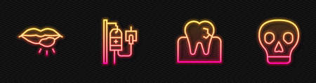 Set line Tooth with caries, Herpes lip, IV bag and Skull. Glowing neon icon. Vector
