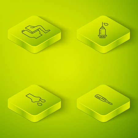Set Isometric line Syringe, Runny nose, Medical thermometer and Constipation icon. Vector Vettoriali