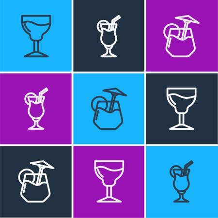 Set line Wine glass, Cocktail and icon. Vector