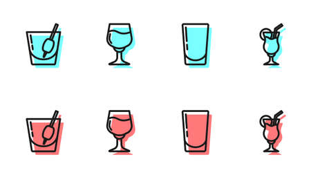 Set line Glass with water, Cocktail Bloody Mary, Wine glass and icon. Vector